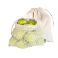 Faitrade® Bio-Baumwollbeutel für Obst und Gemüse | 4-farbiger Logodruck