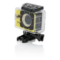 Action Kamera mit 11tlg. Zubehör, gelb/schwarz