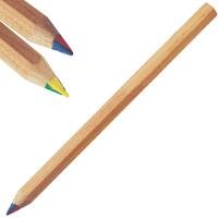 Zertifizierte Regenbogen-Stifte sechseckig JUMBO | 4-farbiger Logodruck