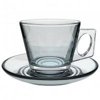 Glas-Cappuccinotasse mit Unterteller Vito, klar