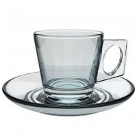 Glas-Espressotasse mit Unterteller Vito, klar