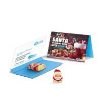 Werbekarte Visitenkartenformat Schoko Weihnachtsmann