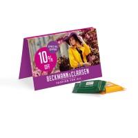 Werbekarte Visitenkartenformat Ritter SPORT Schokotäfelchen