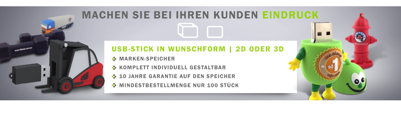 USB-Sticks in Wunschform