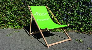 Liegestuhl aufgeklappt vor Gebüsch