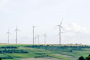 Landschaft mit einem großen Windpark mit vielen Windrädern