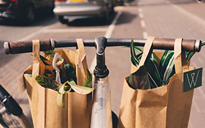 Zwei Papiertüten voll mit Pflanzen an Fahrradlenker