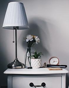 Kleiner Wecker auf Nachttisch, mit Lampe und Pflanze
