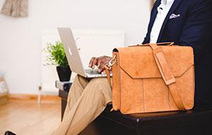 Business Tasche in hellbraunem Leder für Dokumententasche