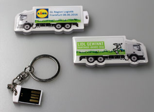 USB-Sticks in LKW-Form bestellte Lidl bei laprinta im Express