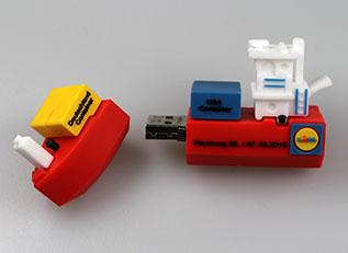 USB-Stick in 3D-Sonderform: Lidl-Frachtschiff von laprinta