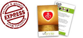 Ein Handy Display Cleaner in Herzform von Polyclean® mit dem Hinweis auf die Express-Sticky Screen Cleaner mit Logo von laprinta