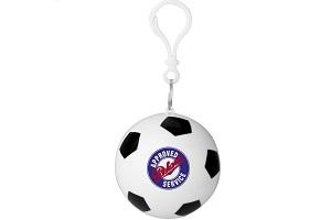Ein Poncho-Ball im Fußballdesign mit zweifarbigem Logodruck