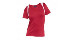 Rotes Damen-T-Shirt mit hellen Highlights an den Schultern
