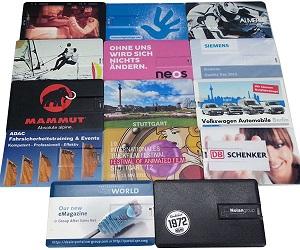 Verschiedene USB-Karten mit Aufdruck