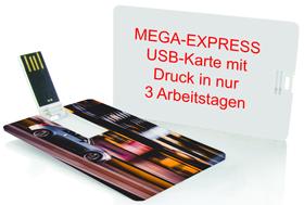 USB-Karte Scheck mit einem schnell fahrenden Auto auf einer Seite und der Angabe MEGA-EXPRESS USB-Karte mit Druck in nur 3 Arbeitstagen