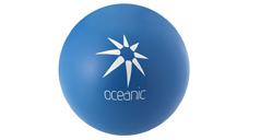Blauer Anti-Streß-Ball mit weißem Logodruck
