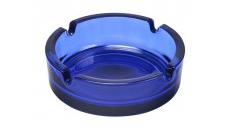 Ein Blauer, leicht transparenter Glasaschenbecher.