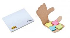 ein Orignal PostIt®-Haftnotizblock mit Werbedruck und ein Haftnotiz-Set in Daumen-Form