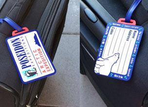 Kofferanhänger im Design unseres Kunden Poseidon mit einem Ploarbär in den Farben des Kunden gestaltet.