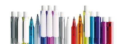 Werbe-Kugelschreiber aus Kunststoff in vielen Farben mit weißem Clip für den Logodruck