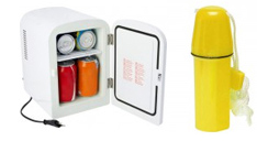 Ein Mini-Kühlschrank für 5 o,33l-Getränkedosen und eine Geldbüchse als Werbegeschenk