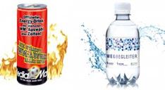 Energydrink in bedruckter Dose und Wasserflasche mit individuellem Werbe-Etiektt.