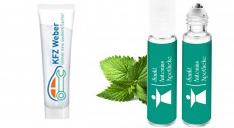 Sonnencreme in kleiner bedruckter Werbe-Tube und Pfefferminz-Erfrischungsspray mit Werbedruck