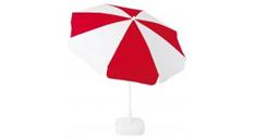 Sonnenschirm, geneigt, mit roten und weißen Segmenten in weißem Schirmständer