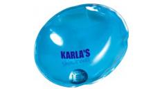 Blauer Taschenwärmer bedruckt mit einem Dunkelblauen Logo