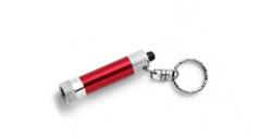 Rote Schlüsselanhänger-Taschenlampe mit eingebautem Touchscreen-Bedinelement