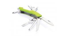 Grünes Taschenmesser bei dem alle Bestandteile zusehen sind: Messer, Sägen, Flaschenöffner, Korkenzieher etc.