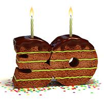 Ein Kuchen in Form einer 30 als Hinweis auf unser 30-jähriges Firmenjubiläum