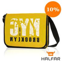 Gelbe Lorrybag ECO mit Logo bedruckt, orangener 10%-Nachlass-Hinweis oben rechts