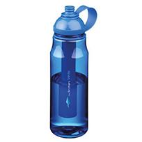 Blaue Trinkflasche mit Logo bedrucken lassen