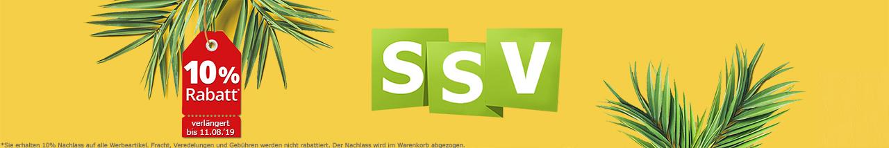 Pamwedel und dei Buchstaben SSV auf gelbem Hintergrund. An einem der Pamwedel hängt ein rotes Schild mit der Aufschrift 10% Rabatt auf alles!